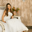 Bride on a Bed — Stock Photo