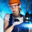 Beautiful Woman With Heavy Drill — Stock Photo #35085325