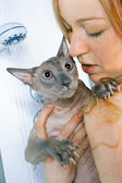Girl and Cat in Shower — Stock Photo
