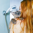 Foto de Stock  : Girl and Cat in Shower