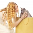 Girl Bought a Cat — Stock Photo