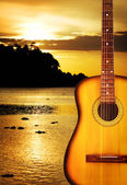 Yellow Acoustic Guitar — Stock Photo