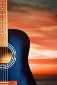 Blue Acoustic Guitar — Stock Photo