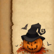 Halloween greeting card with pumpkin — Stock Photo #11458139