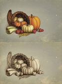 Thanksgiving greeting cards — 图库照片