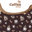 Stock Photo: Coffee background with drawings and coffee stain