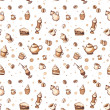 Seamless pattern with coffee, cakes, cups, teapots and coffee stains — Stock Photo