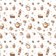 Stock Photo: Seamless pattern with coffee, cakes, cups, teapots and coffee stains