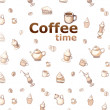 Background with drawings of coffee, cakes, cups, teapots — Foto de Stock