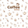 Background with drawings of coffee, cakes, cups, teapots — Stock fotografie