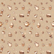 Seamless pattern with coffee, cakes, cups, teapots — Stock Photo #14382939