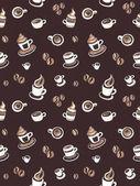 无缝模式与咖啡豆和杯子 — 图库照片