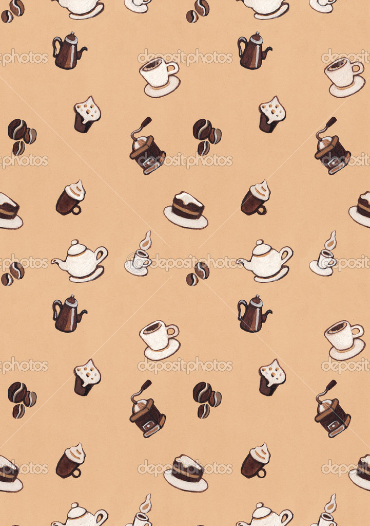 Seamless pattern with coffee illustrations  — Stock Photo #14383439