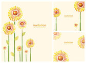 Elegant invitations with watercolor flowers — Stock Photo