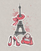 Eiffel Tower, shoes and handbag — Stock Photo