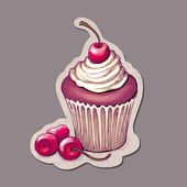 Vector hand drawn illustration of cupcake with cherry — Stock Vector