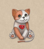 Cat toy illustration. Perfect for greeting card — 图库照片