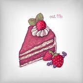 Ręka wektor ilustracja ciasto z truskawkami — Wektor stockowy