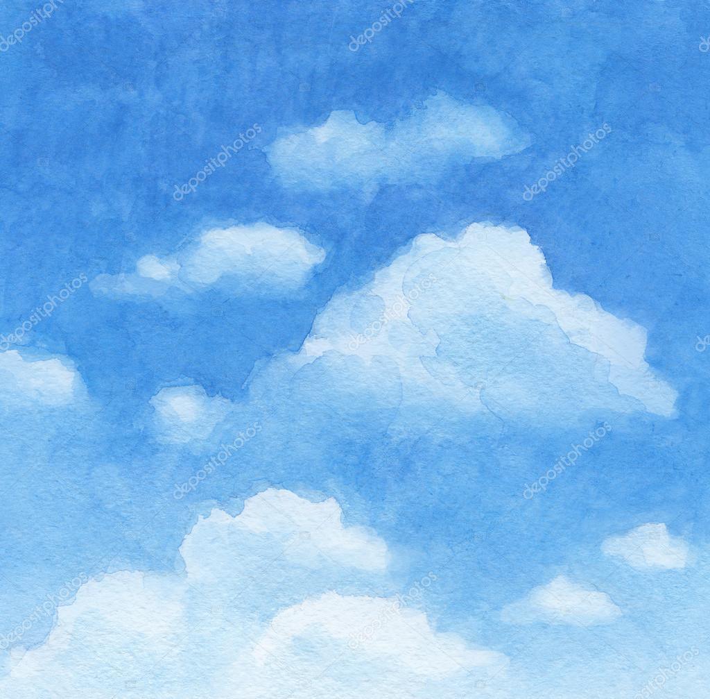 蓝色的天空.水彩背景 - 图库图片