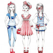 Fashion girls illustration — Stock fotografie