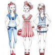 Stock Photo: Fashion girls illustration
