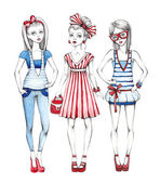 Fashion girls illustration — Stock Photo