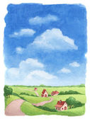 Watercolor rural landscape — Stock Photo