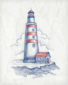 Vector illustration of lighthouse — Stok Vektör
