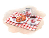 Ilustración acuarela de desayuno con café y medialunas — Foto de Stock
