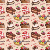 Seamless pattern with watercolor cake illustrations — Stock Photo