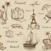 Modèle sans couture avec des illustrations de voyage — Photo