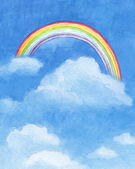 Watercolor illustration of rainbow — Stok fotoğraf