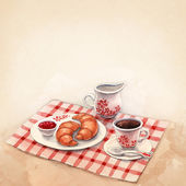 Watercolor illustration of breakfast with croissants and coffee — Stock Photo
