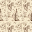 Seamless pattern with pencil drawing of wine bottle and grape — Stock Photo