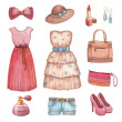 Stock Photo: Collection of watercolor dresses and accessories