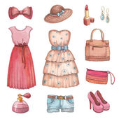 Collection of watercolor dresses and accessories — Stok fotoğraf