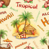 Akvarel bezešvé vzor. ilustrace tropický ráj — Stock fotografie