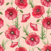 Watercolor poppy flowers, seamless pattern — Stock Photo
