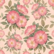 Watercolor dogrose illustration. Seamless pattern — Stockfoto