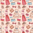 Seamless pattern with watercolor dresses and accessories — Stockfoto