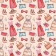 Seamless pattern with watercolor dresses and accessories — Stok fotoğraf
