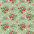 Seamless pattern with watercolor strawberry bush — ストック写真