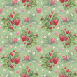 Seamless pattern with watercolor strawberry bush — Stok fotoğraf
