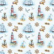 Nautical watercolor seamless pattern — 图库照片