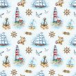 Nautical watercolor seamless pattern — Stockfoto