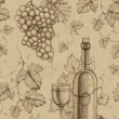 Seamless pattern with pencil drawing of wine bottle and grape — ストック写真