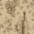 Seamless pattern with pencil drawing of wine bottle and grape — Stockfoto