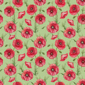 Watercolor poppy flowers, seamless pattern — Stock Photo