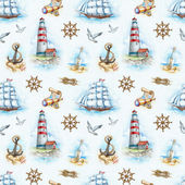 Nautical watercolor seamless pattern — Photo