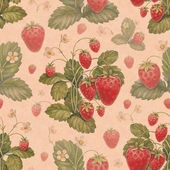 Watercolor strawberry bush. Seamless pattern — Stock Photo